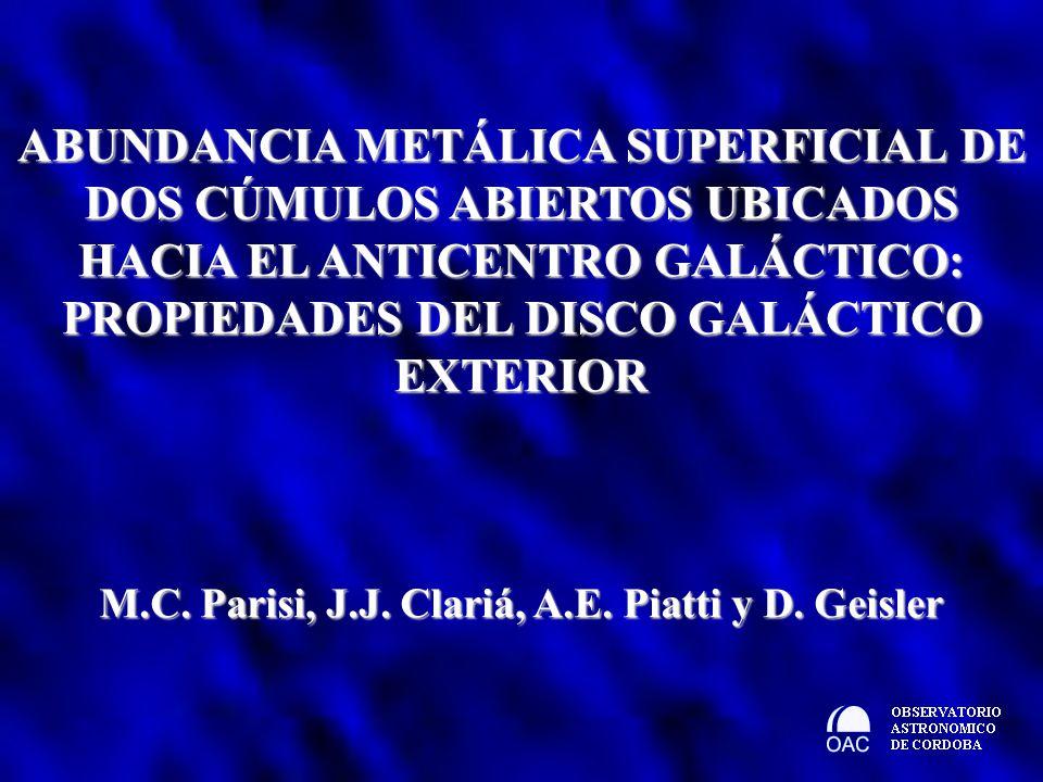 ABUNDANCIA METÁLICA SUPERFICIAL DE DOS CÚMULOS ABIERTOS UBICADOS HACIA EL ANTICENTRO GALÁCTICO: PROPIEDADES DEL DISCO GALÁCTICO EXTERIOR M.C. Parisi,