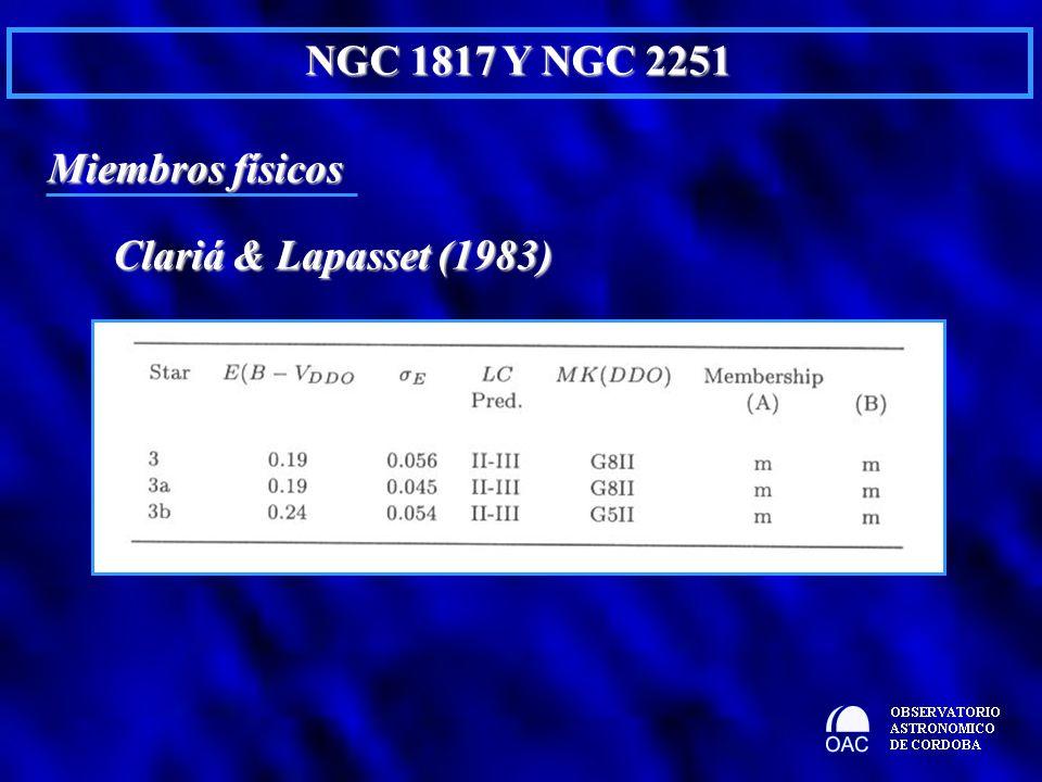 Miembros físicos NGC 1817 Y NGC 2251 Clariá & Lapasset (1983)