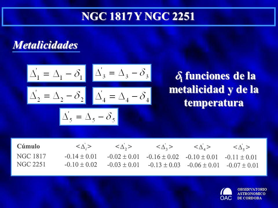 Metalicidades i funciones de la metalicidad y de la temperatura i funciones de la metalicidad y de la temperatura
