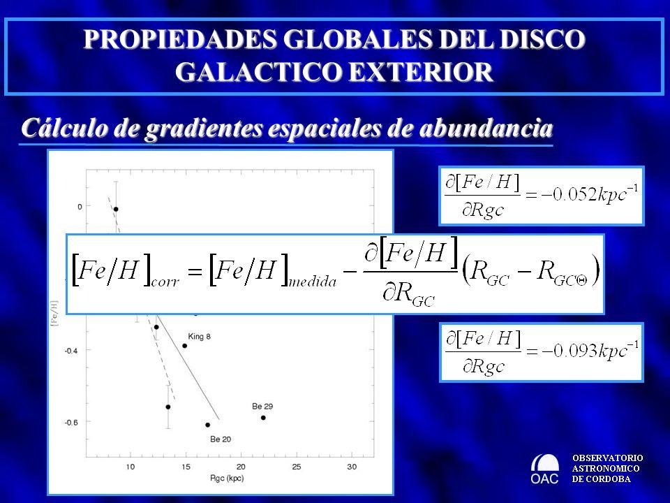 PROPIEDADES GLOBALES DEL DISCO GALACTICO EXTERIOR Cálculo de gradientes espaciales de abundancia