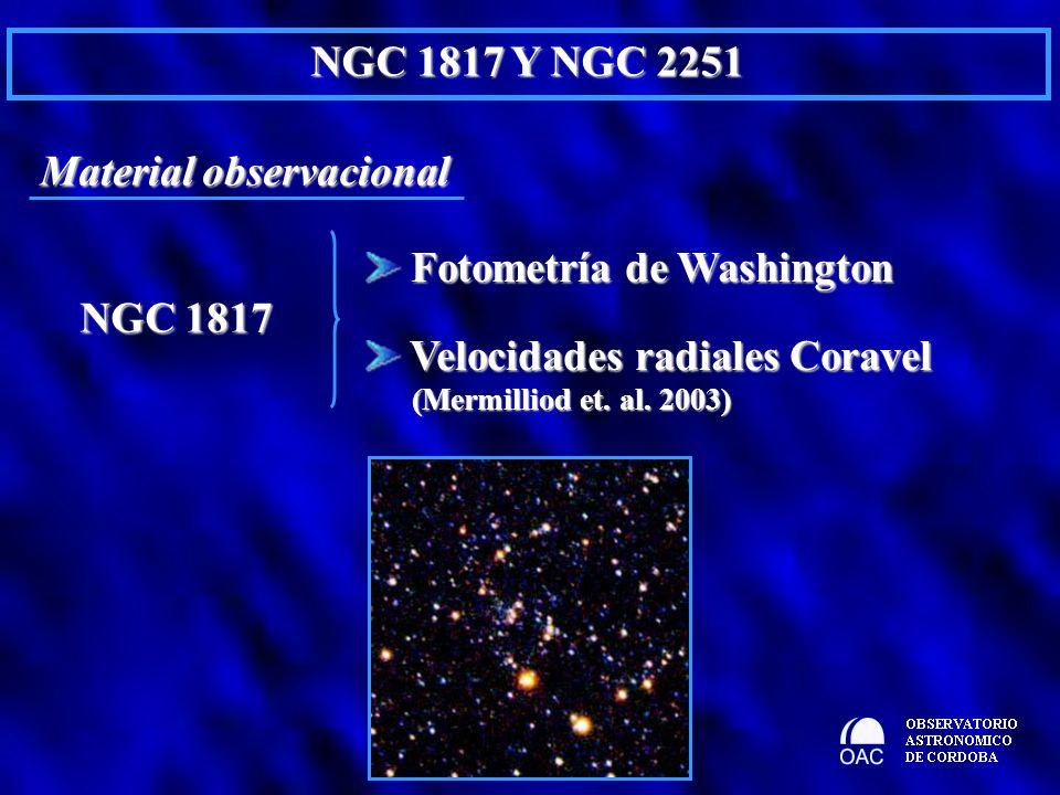Material observacional NGC 1817 Y NGC 2251 NGC 1817 NGC 1817 Fotometría de Washington Fotometría de Washington Velocidades radiales Coravel Velocidade