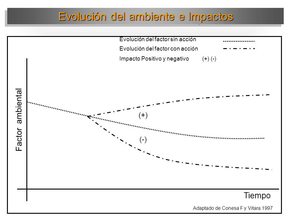 Evolución del ambiente e Impactos Inicio acción Factor ambiental Tiempo Evolución del factor sin acción Impacto inmediato Impacto Latente Adaptado de Conesa F y Vitara 1997