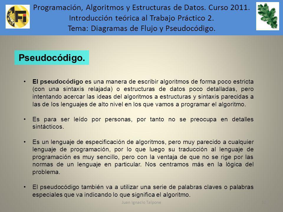 Juan Ignacio Talpone10 Programación, Algoritmos y Estructuras de Datos. Curso 2011. Introducción teórica al Trabajo Práctico 2. Tema: Diagramas de Flu