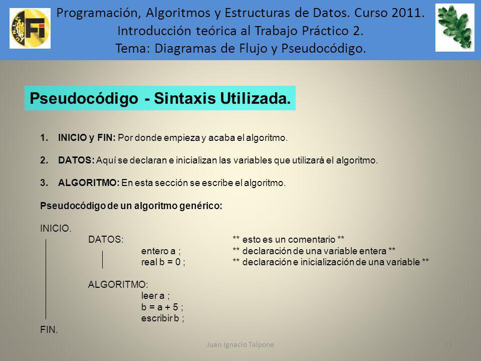 Juan Ignacio Talpone11 Programación, Algoritmos y Estructuras de Datos. Curso 2011. Introducción teórica al Trabajo Práctico 2. Tema: Diagramas de Flu