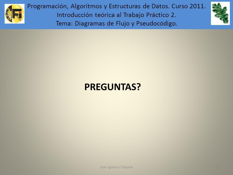 Juan Ignacio Talpone20 Programación, Algoritmos y Estructuras de Datos. Introducción teórica al Trabajo Práctico 6. PREGUNTAS? Programación, Algoritmo