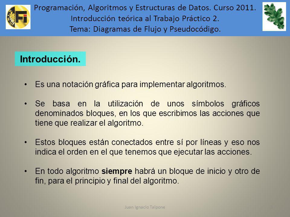 Juan Ignacio Talpone3 Programación, Algoritmos y Estructuras de Datos. Curso 2011. Introducción teórica al Trabajo Práctico 2. Tema: Diagramas de Fluj