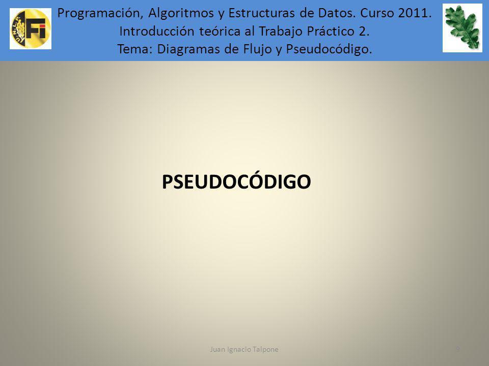 Juan Ignacio Talpone9 Programación, Algoritmos y Estructuras de Datos. Introducción teórica al Trabajo Práctico 6. PSEUDOCÓDIGO Programación, Algoritm