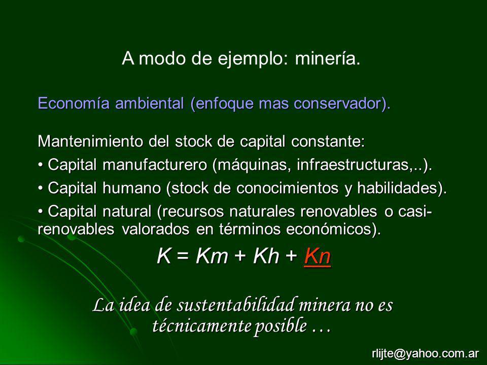 A modo de ejemplo: minería. Economía ambiental (enfoque mas conservador). Mantenimiento del stock de capital constante: Capital manufacturero (máquina