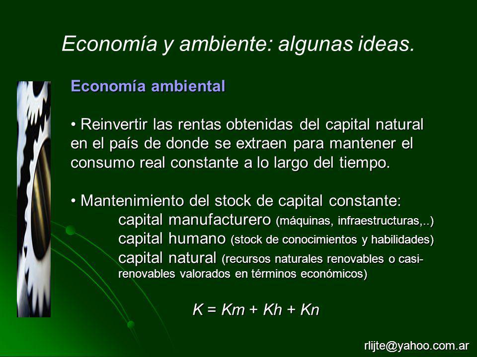 Economía ambiental Reinvertir las rentas obtenidas del capital natural en el país de donde se extraen para mantener el consumo real constante a lo lar
