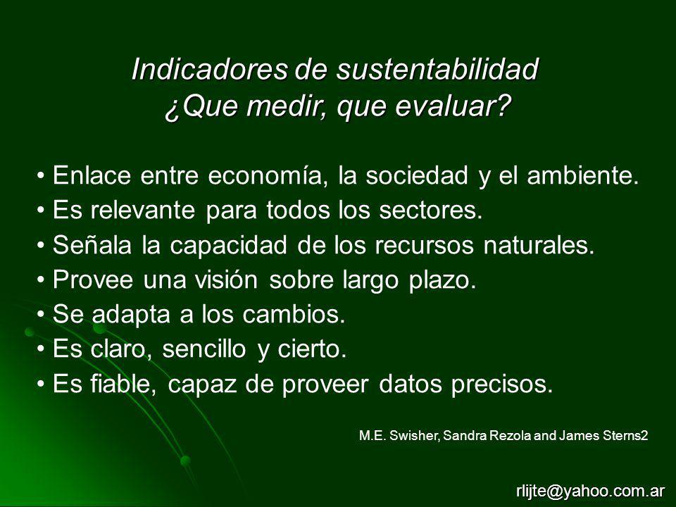 Indicadores de sustentabilidad ¿Que medir, que evaluar? Enlace entre economía, la sociedad y el ambiente. Es relevante para todos los sectores. Señala