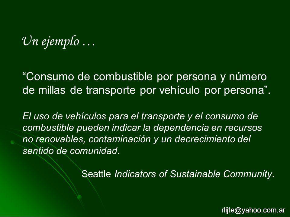 Un ejemplo … Consumo de combustible por persona y número de millas de transporte por vehículo por persona. El uso de vehículos para el transporte y el
