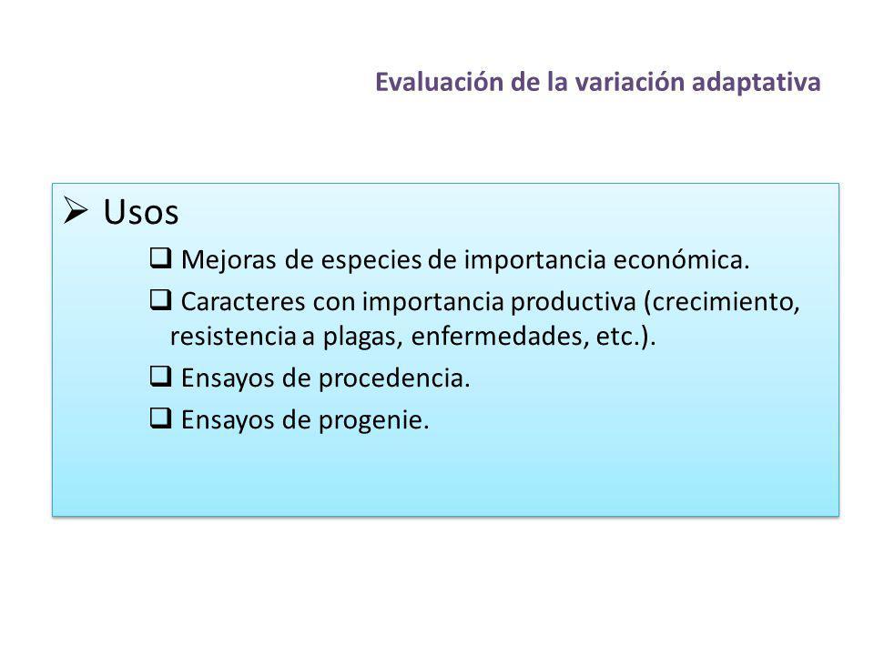 Evaluación de la variación adaptativa Usos Mejoras de especies de importancia económica. Caracteres con importancia productiva (crecimiento, resistenc