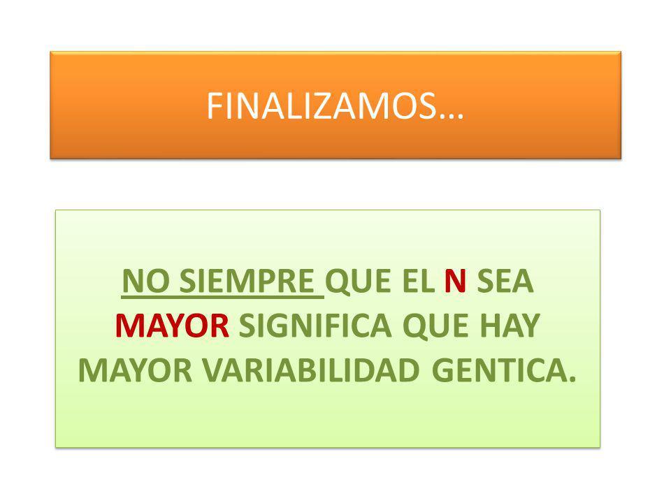 FINALIZAMOS… NO SIEMPRE QUE EL N SEA MAYOR SIGNIFICA QUE HAY MAYOR VARIABILIDAD GENTICA.