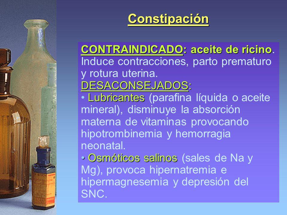 Constipación CONTRAINDICADO: aceite de ricino CONTRAINDICADO: aceite de ricino. Induce contracciones, parto prematuro y rotura uterina. DESACONSEJADOS