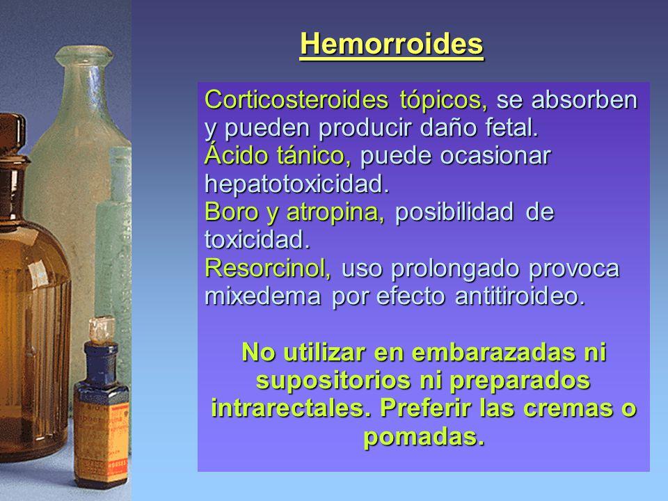 Hemorroides Corticosteroides tópicos, se absorben y pueden producir daño fetal. Ácido tánico, puede ocasionar hepatotoxicidad. Boro y atropina, posibi