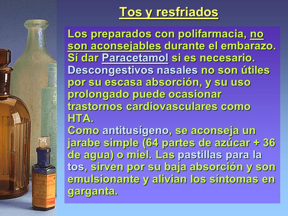 Tos y resfriados Los preparados con polifarmacia, no son aconsejables durante el embarazo. Sí dar Paracetamol si es necesario. Descongestivos nasales