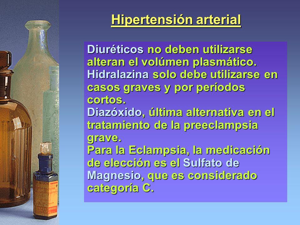 Hipertensión arterial Diuréticos no deben utilizarse alteran el volúmen plasmático. Hidralazina solo debe utilizarse en casos graves y por períodos co