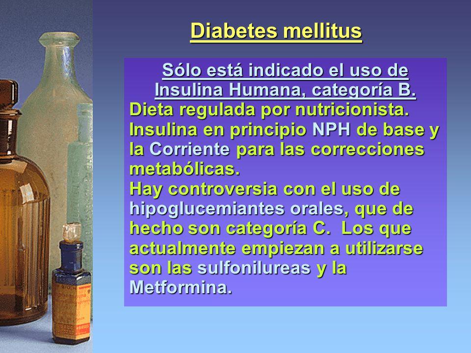 Diabetes mellitus Sólo está indicado el uso de Insulina Humana, categoría B. Dieta regulada por nutricionista. Insulina en principio NPH de base y la