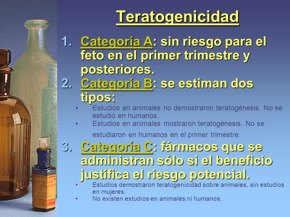 Teratogenicidad 1.Categoría A: sin riesgo para el feto en el primer trimestre y posteriores. 2.Categoría B: se estiman dos tipos: Estudios en animales