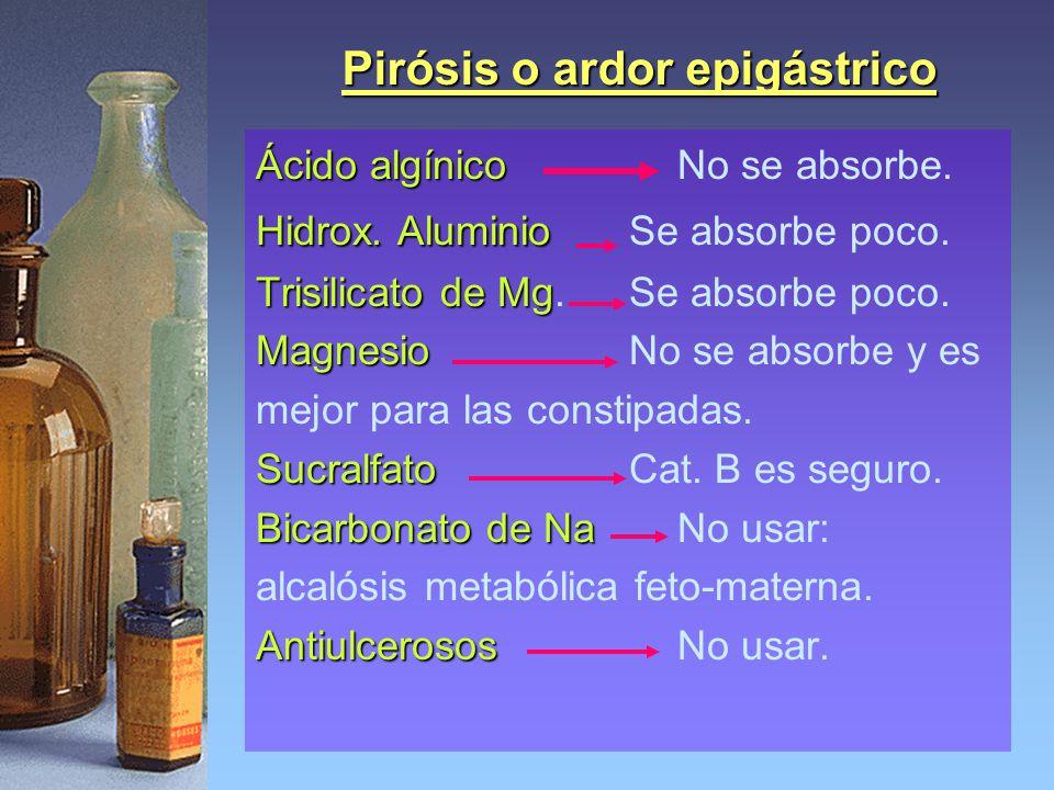 Pirósis o ardor epigástrico Ácido algínico Ácido algínico No se absorbe.