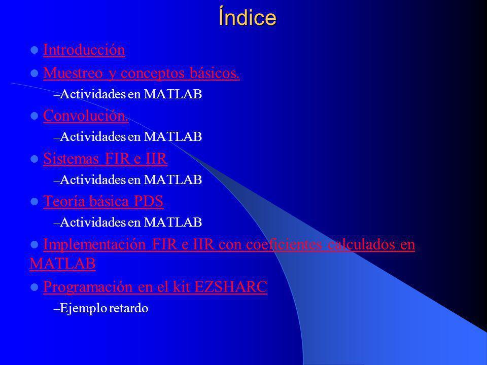 Índice Introducción Muestreo y conceptos básicos.– Actividades en MATLAB Convolución.