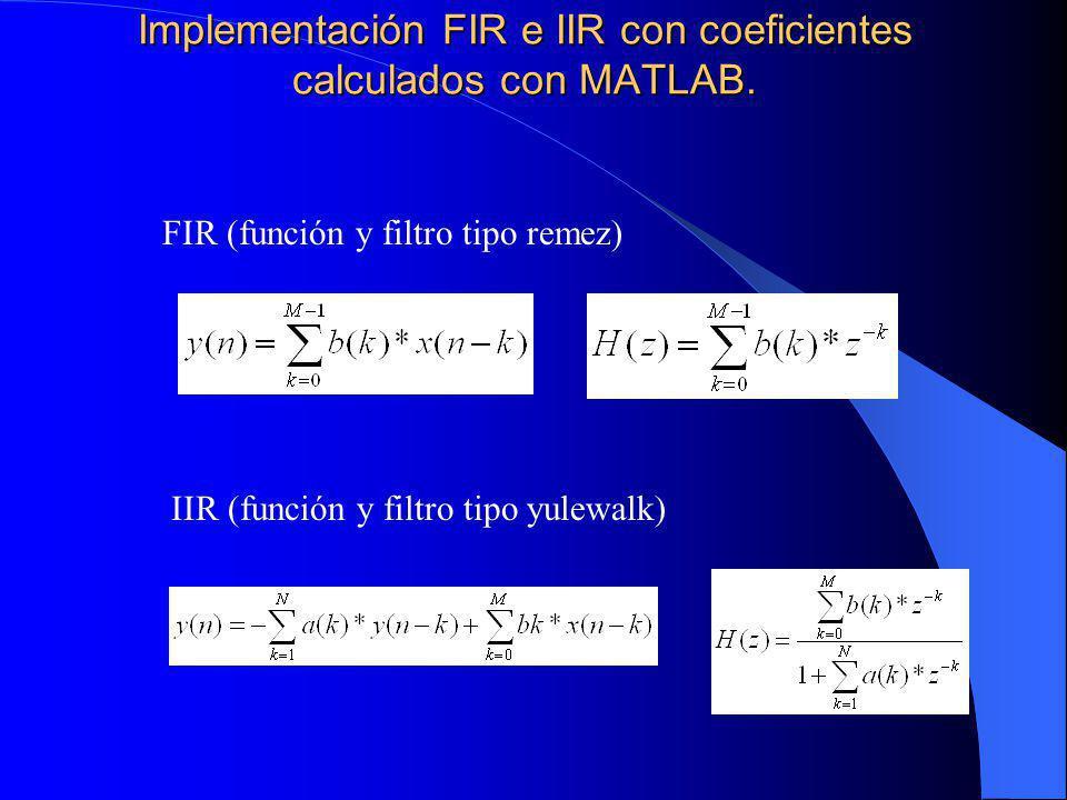 Implementación FIR e IIR con coeficientes calculados con MATLAB.