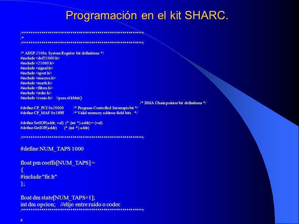 Programación en el kit SHARC.