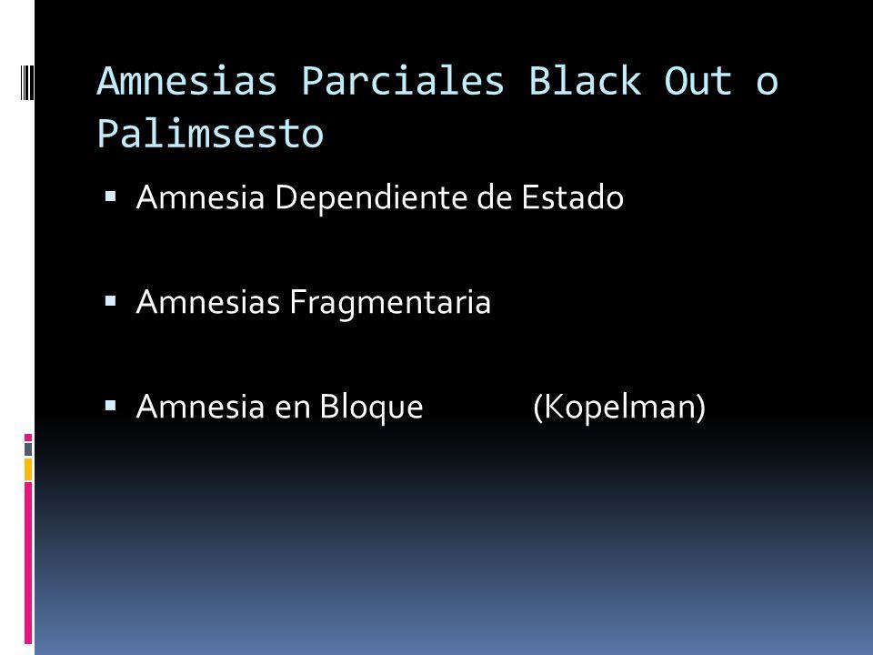 Amnesias Parciales Black Out o Palimsesto Amnesia Dependiente de Estado Amnesias Fragmentaria Amnesia en Bloque (Kopelman)