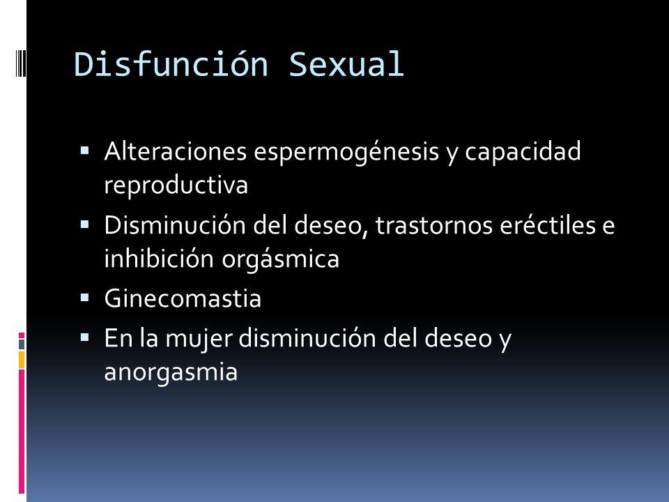 Disfunción Sexual Alteraciones espermogénesis y capacidad reproductiva Disminución del deseo, trastornos eréctiles e inhibición orgásmica Ginecomastia En la mujer disminución del deseo y anorgasmia