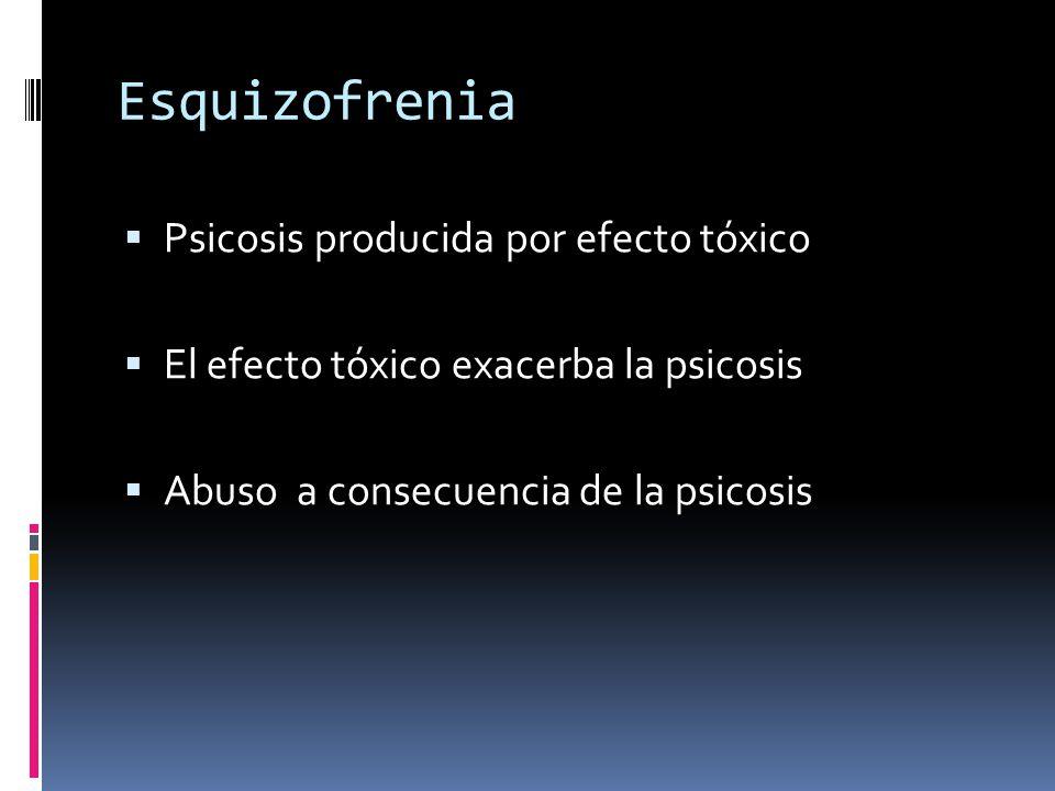 Esquizofrenia Psicosis producida por efecto tóxico El efecto tóxico exacerba la psicosis Abuso a consecuencia de la psicosis