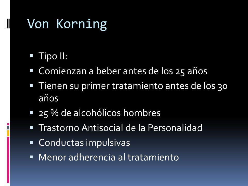 Von Korning Tipo II: Comienzan a beber antes de los 25 años Tienen su primer tratamiento antes de los 30 años 25 % de alcohólicos hombres Trastorno Antisocial de la Personalidad Conductas impulsivas Menor adherencia al tratamiento