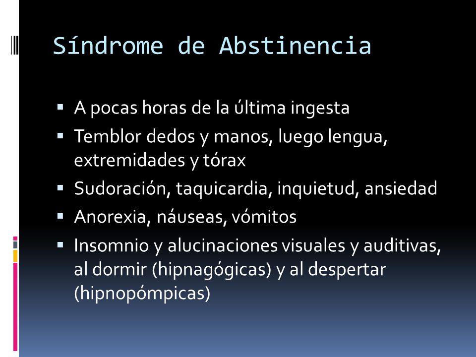 Síndrome de Abstinencia A pocas horas de la última ingesta Temblor dedos y manos, luego lengua, extremidades y tórax Sudoración, taquicardia, inquietud, ansiedad Anorexia, náuseas, vómitos Insomnio y alucinaciones visuales y auditivas, al dormir (hipnagógicas) y al despertar (hipnopómpicas)