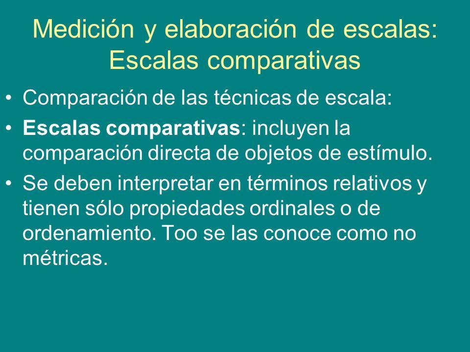 Medición y elaboración de escalas: Escalas comparativas Comparación de las técnicas de escala: Escalas comparativas: incluyen la comparación directa de objetos de estímulo.