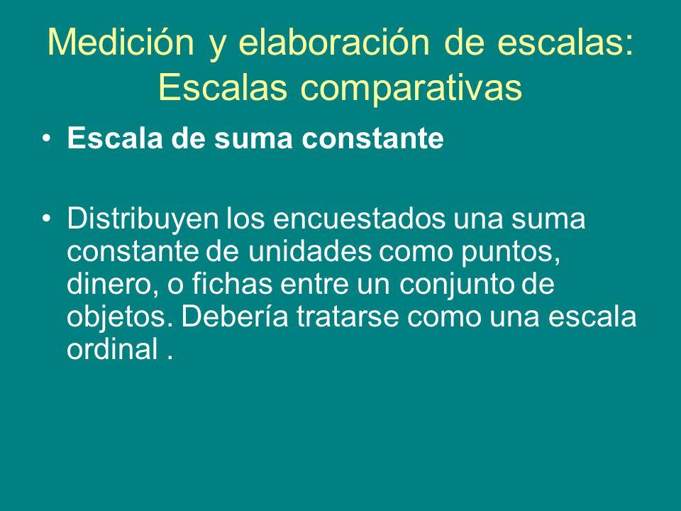 Medición y elaboración de escalas: Escalas comparativas Escala de suma constante Distribuyen los encuestados una suma constante de unidades como puntos, dinero, o fichas entre un conjunto de objetos.
