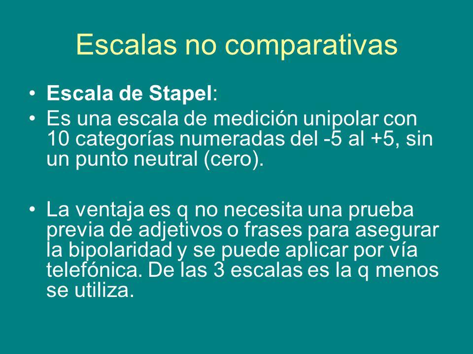 Escalas no comparativas Escala de Stapel: Es una escala de medición unipolar con 10 categorías numeradas del -5 al +5, sin un punto neutral (cero).