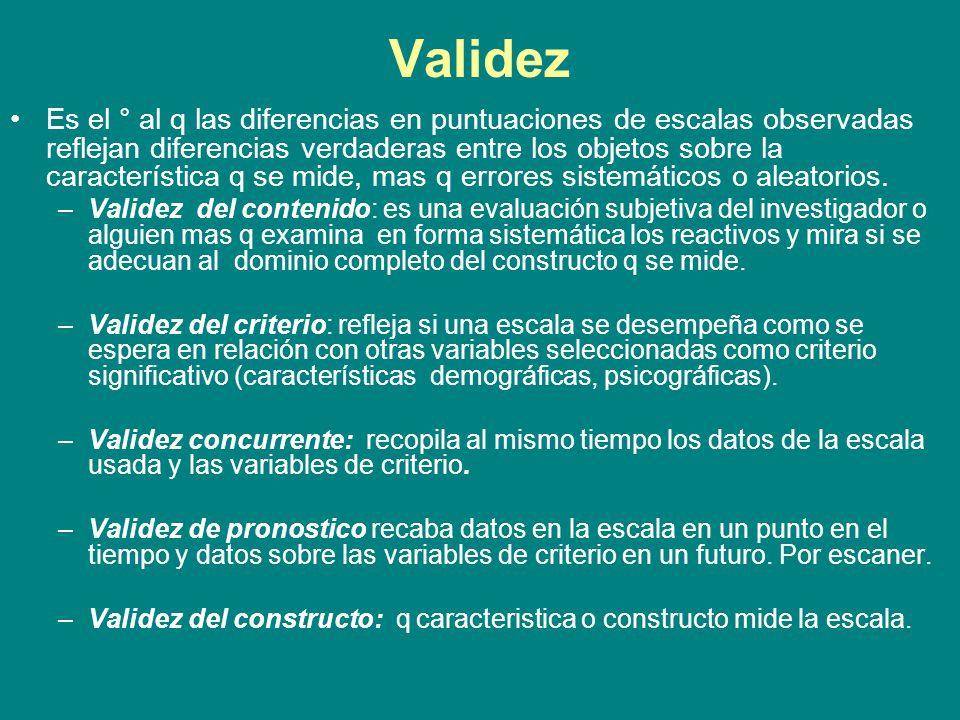 Evaluación de escalas: Relación entre confiabilidad y validez: La falta de confiabilidad implica invalidez.