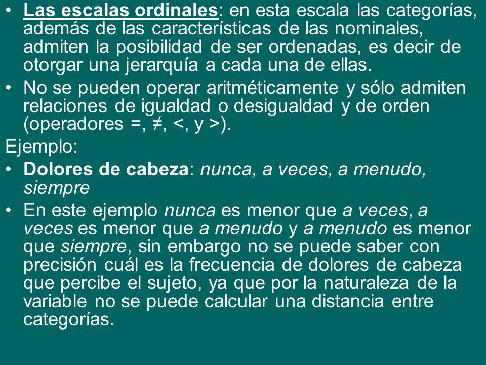 Las escalas ordinales: en esta escala las categorías, además de las características de las nominales, admiten la posibilidad de ser ordenadas, es decir de otorgar una jerarquía a cada una de ellas.