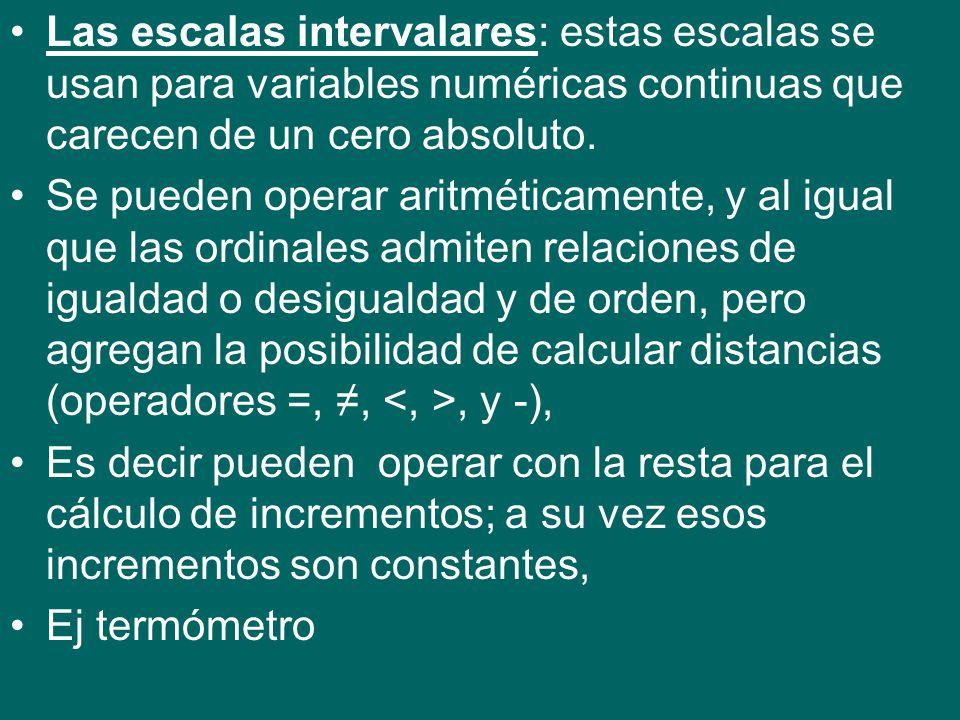 Las escalas intervalares: estas escalas se usan para variables numéricas continuas que carecen de un cero absoluto.