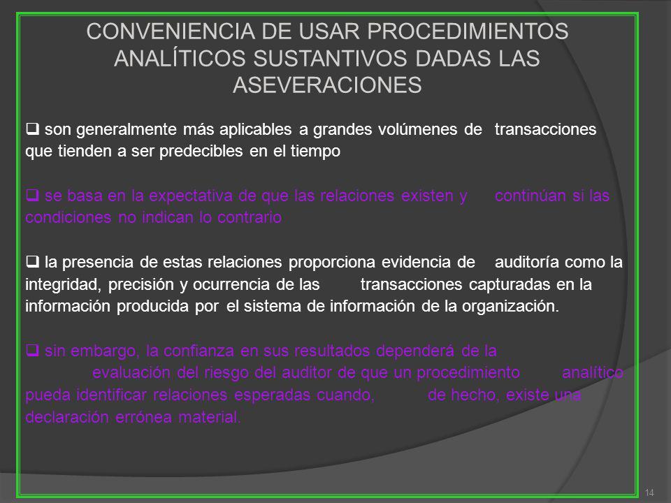 14 CONVENIENCIA DE USAR PROCEDIMIENTOS ANALÍTICOS SUSTANTIVOS DADAS LAS ASEVERACIONES son generalmente más aplicables a grandes volúmenes de transacci