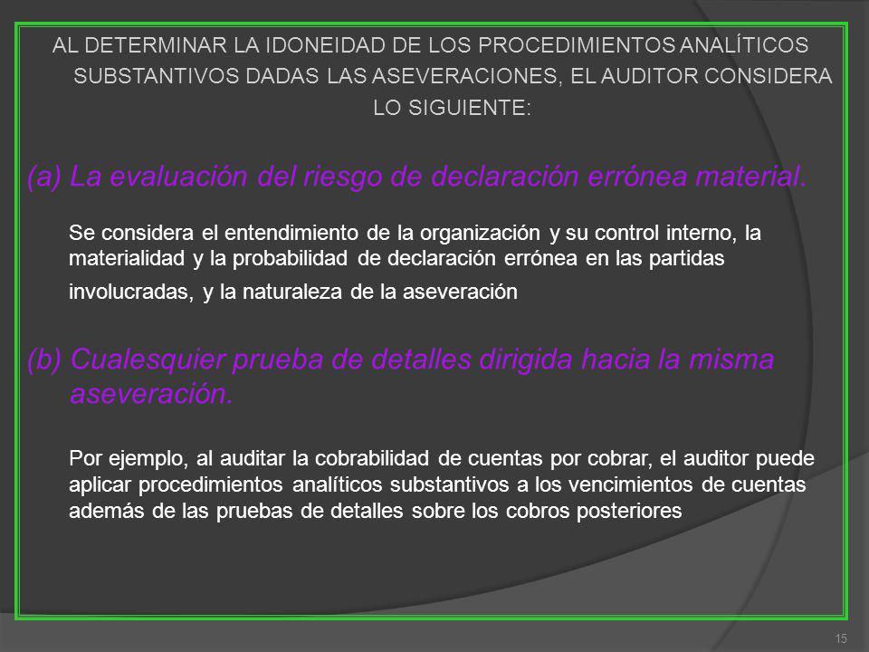 15 AL DETERMINAR LA IDONEIDAD DE LOS PROCEDIMIENTOS ANALÍTICOS SUBSTANTIVOS DADAS LAS ASEVERACIONES, EL AUDITOR CONSIDERA LO SIGUIENTE: (a)La evaluación del riesgo de declaración errónea material.