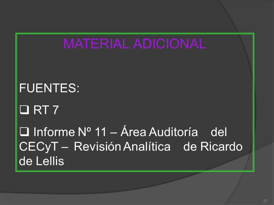 20 MATERIAL ADICIONAL FUENTES: RT 7 Informe Nº 11 – Área Auditoría del CECyT – Revisión Analítica de Ricardo de Lellis