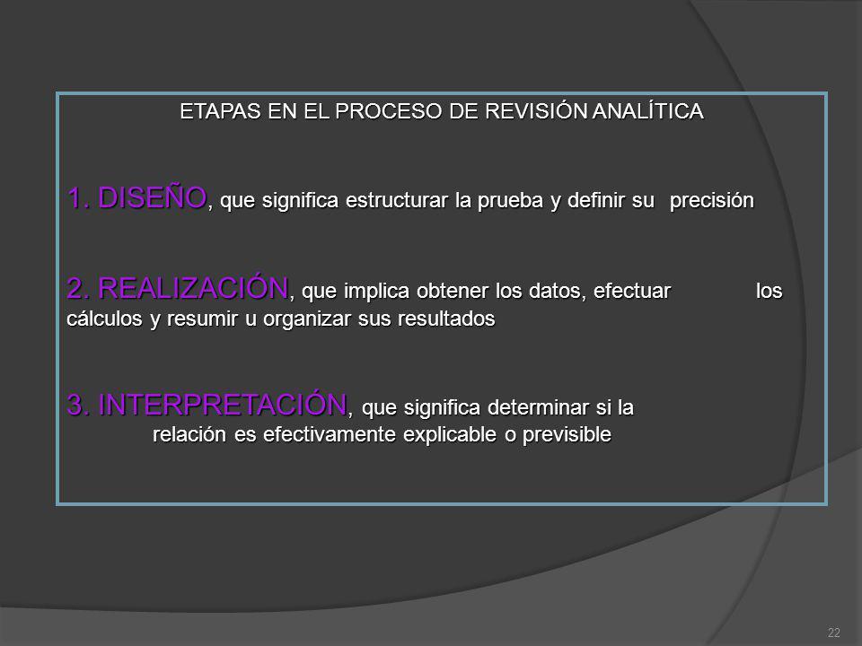 22 ETAPAS EN EL PROCESO DE REVISIÓN ANALÍTICA 1. DISEÑO, que significa estructurar la prueba y definir su precisión 2. REALIZACIÓN, que implica obtene