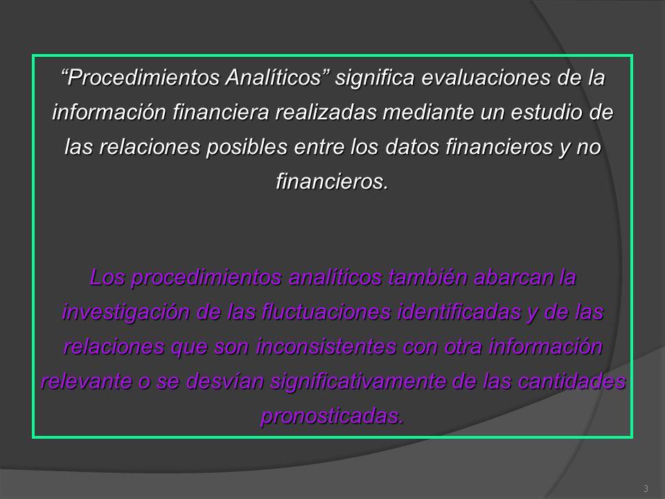 3 Procedimientos Analíticos significa evaluaciones de la información financiera realizadas mediante un estudio de las relaciones posibles entre los datos financieros y no financieros.