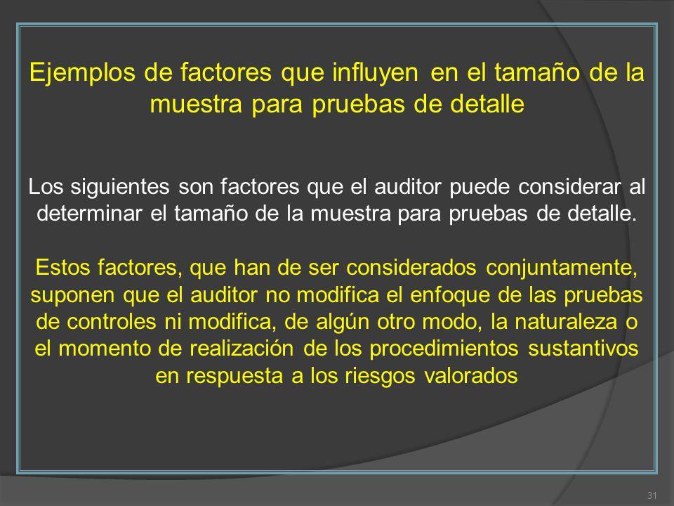 Ejemplos de factores que influyen en el tamaño de la muestra para pruebas de detalle Los siguientes son factores que el auditor puede considerar al determinar el tamaño de la muestra para pruebas de detalle.