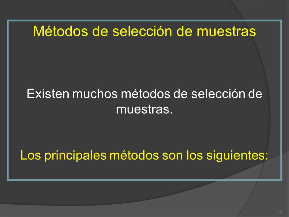 Métodos de selección de muestras Existen muchos métodos de selección de muestras. Los principales métodos son los siguientes: 36