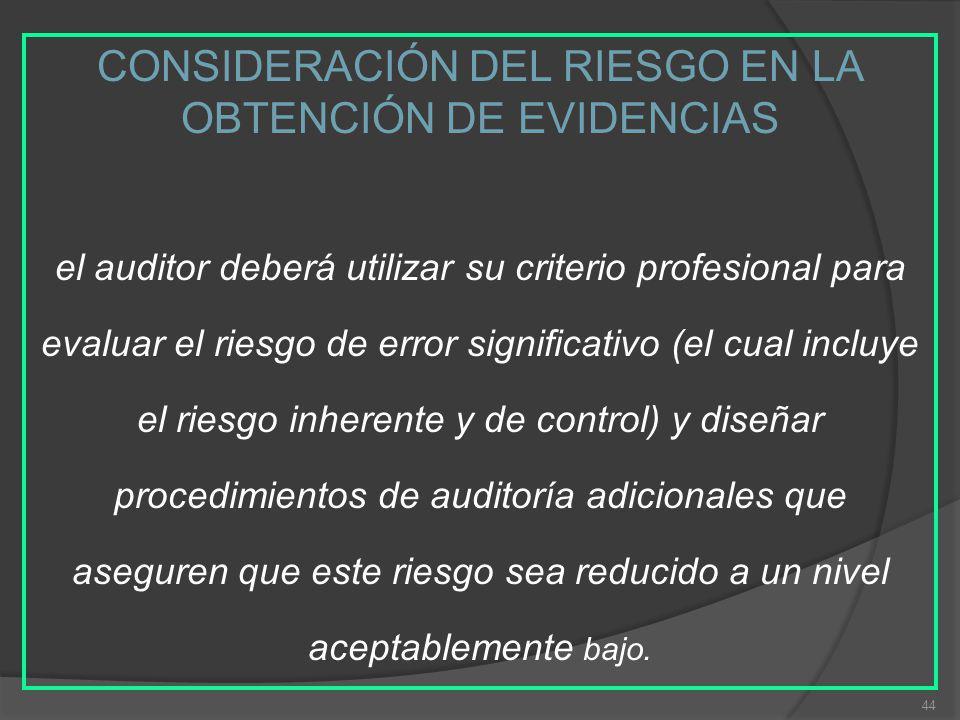 44 CONSIDERACIÓN DEL RIESGO EN LA OBTENCIÓN DE EVIDENCIAS el auditor deberá utilizar su criterio profesional para evaluar el riesgo de error significa