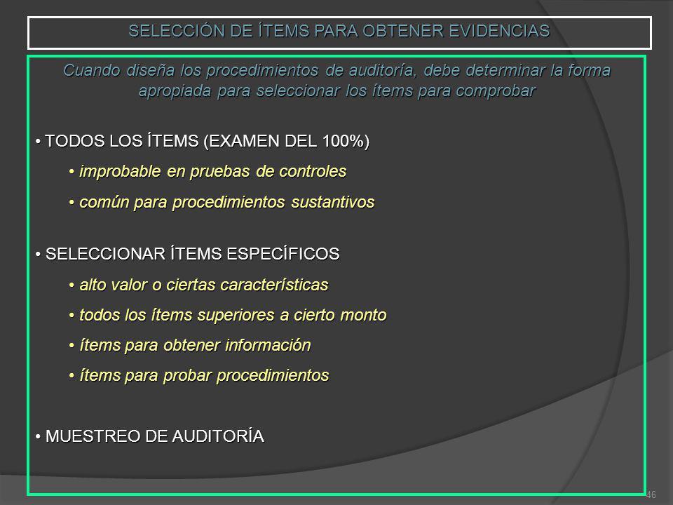 46 SELECCIÓN DE ÍTEMS PARA OBTENER EVIDENCIAS Cuando diseña los procedimientos de auditoría, debe determinar la forma apropiada para seleccionar los ítems para comprobar TODOS LOS ÍTEMS (EXAMEN DEL 100%) TODOS LOS ÍTEMS (EXAMEN DEL 100%) improbable en pruebas de controles improbable en pruebas de controles común para procedimientos sustantivos común para procedimientos sustantivos SELECCIONAR ÍTEMS ESPECÍFICOS SELECCIONAR ÍTEMS ESPECÍFICOS alto valor o ciertas características alto valor o ciertas características todos los ítems superiores a cierto monto todos los ítems superiores a cierto monto ítems para obtener información ítems para obtener información ítems para probar procedimientos ítems para probar procedimientos MUESTREO DE AUDITORÍA MUESTREO DE AUDITORÍA