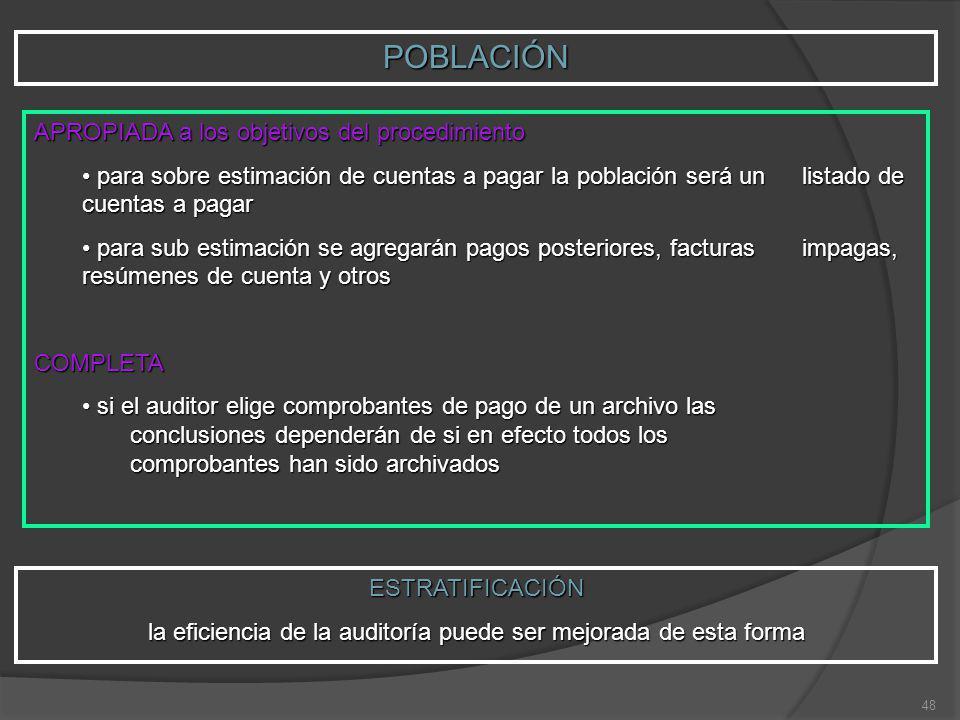 48 POBLACIÓN APROPIADA a los objetivos del procedimiento para sobre estimación de cuentas a pagar la población será un listado de cuentas a pagar para