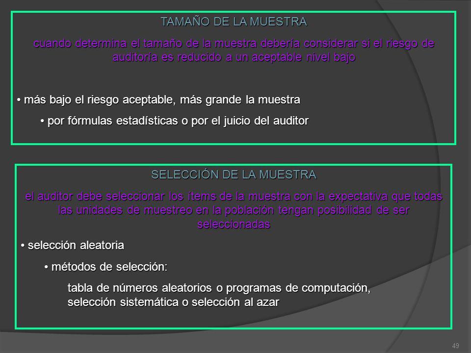 49 TAMAÑO DE LA MUESTRA cuando determina el tamaño de la muestra debería considerar si el riesgo de auditoría es reducido a un aceptable nivel bajo más bajo el riesgo aceptable, más grande la muestra más bajo el riesgo aceptable, más grande la muestra por fórmulas estadísticas o por el juicio del auditor por fórmulas estadísticas o por el juicio del auditor SELECCIÓN DE LA MUESTRA el auditor debe seleccionar los ítems de la muestra con la expectativa que todas las unidades de muestreo en la población tengan posibilidad de ser seleccionadas selección aleatoria selección aleatoria métodos de selección: métodos de selección: tabla de números aleatorios o programas de computación, selección sistemática o selección al azar