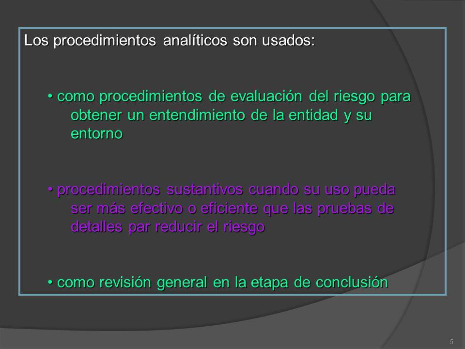 5 Los procedimientos analíticos son usados: como procedimientos de evaluación del riesgo para obtener un entendimiento de la entidad y su entorno como
